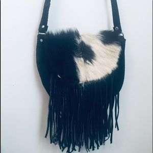 Genuine leather vintage fringe crossbody fur purse